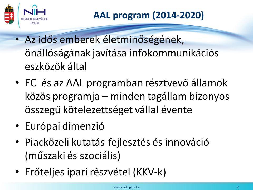 AAL program (2014-2020) Az idős emberek életminőségének, önállóságának javítása infokommunikációs eszközök által EC és az AAL programban résztvevő államok közös programja – minden tagállam bizonyos összegű kötelezettséget vállal évente Európai dimenzió Piacközeli kutatás-fejlesztés és innováció (műszaki és szociális) Erőteljes ipari részvétel (KKV-k) 2www.nih.gov.hu