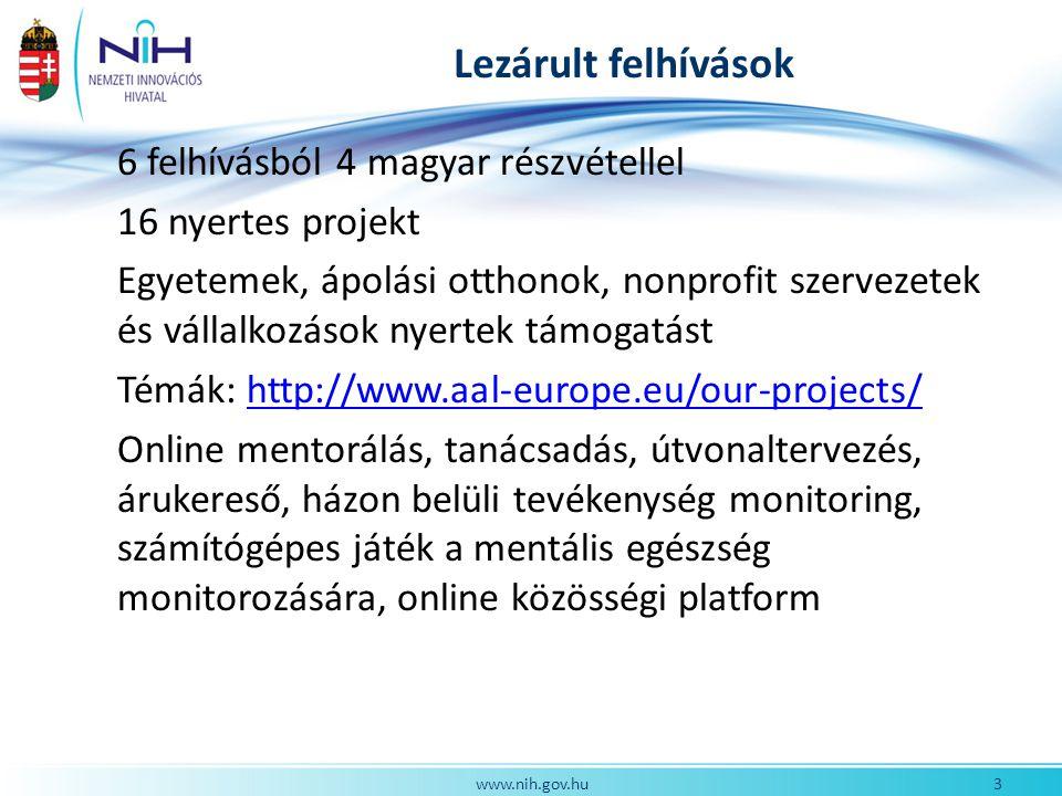 Lezárult felhívások 6 felhívásból 4 magyar részvétellel 16 nyertes projekt Egyetemek, ápolási otthonok, nonprofit szervezetek és vállalkozások nyertek támogatást Témák: http://www.aal-europe.eu/our-projects/http://www.aal-europe.eu/our-projects/ Online mentorálás, tanácsadás, útvonaltervezés, árukereső, házon belüli tevékenység monitoring, számítógépes játék a mentális egészség monitorozására, online közösségi platform 3www.nih.gov.hu