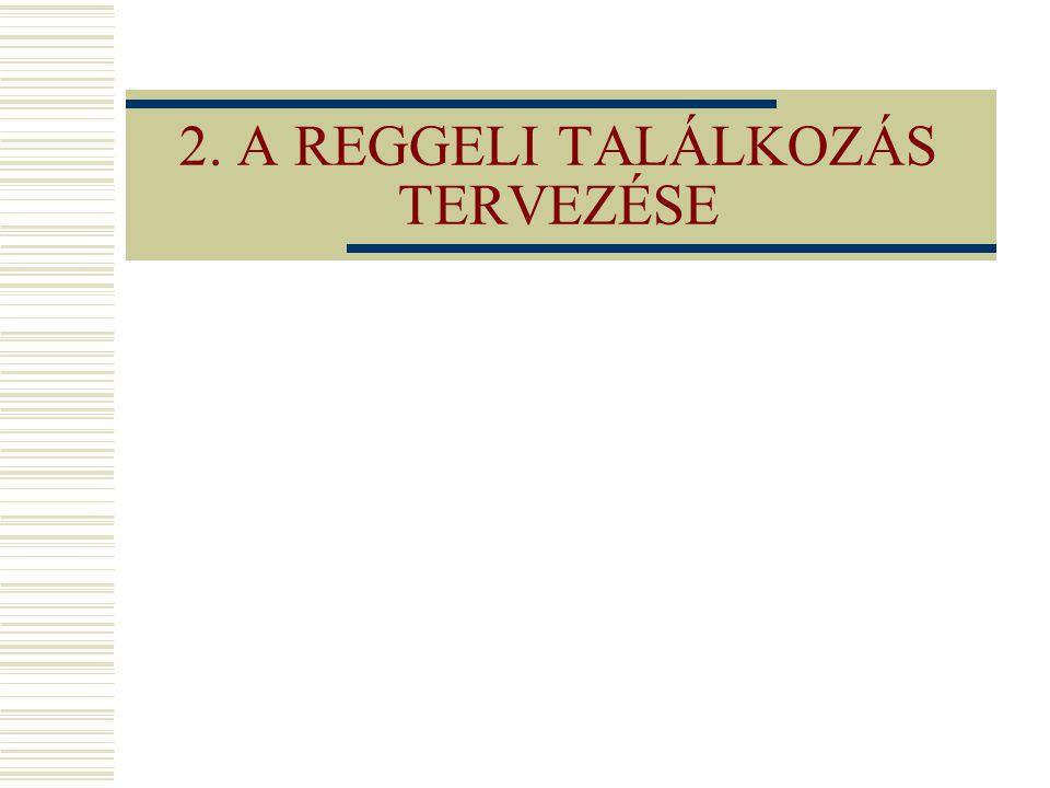 2. A REGGELI TALÁLKOZÁS TERVEZÉSE