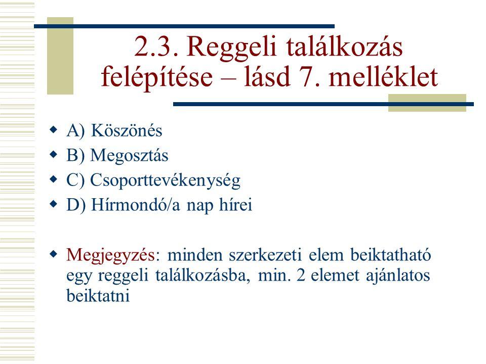 2.3. Reggeli találkozás felépítése – lásd 7. melléklet  A) Köszönés  B) Megosztás  C) Csoporttevékenység  D) Hírmondó/a nap hírei  Megjegyzés: mi