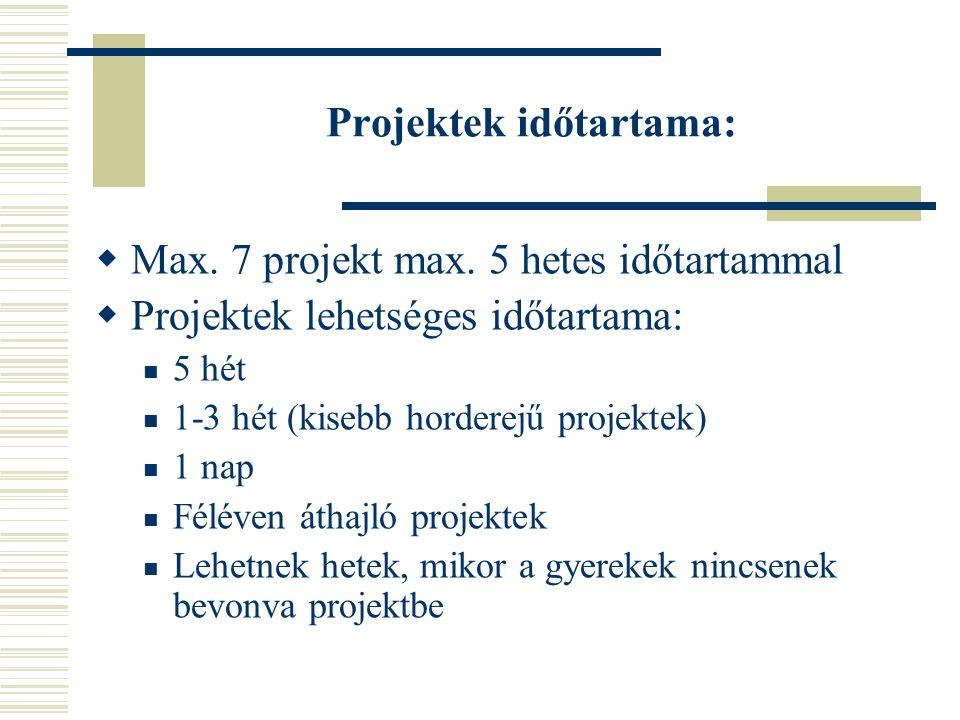 Projektek időtartama:  Max. 7 projekt max. 5 hetes időtartammal  Projektek lehetséges időtartama: 5 hét 1-3 hét (kisebb horderejű projektek) 1 nap F