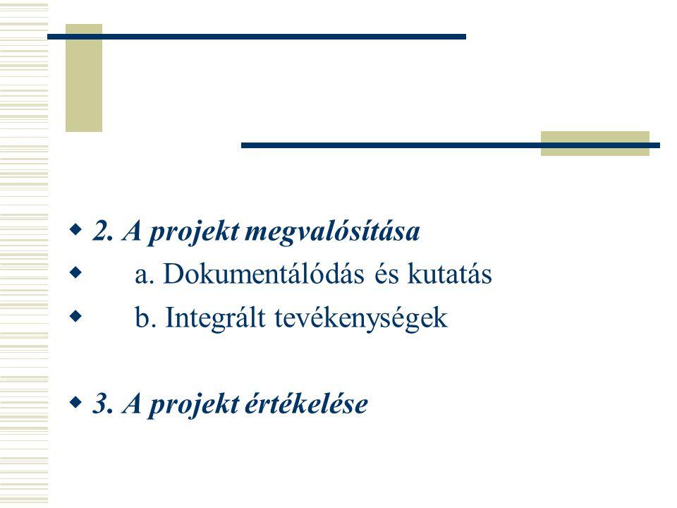  2. A projekt megvalósítása  a. Dokumentálódás és kutatás  b. Integrált tevékenységek  3. A projekt értékelése