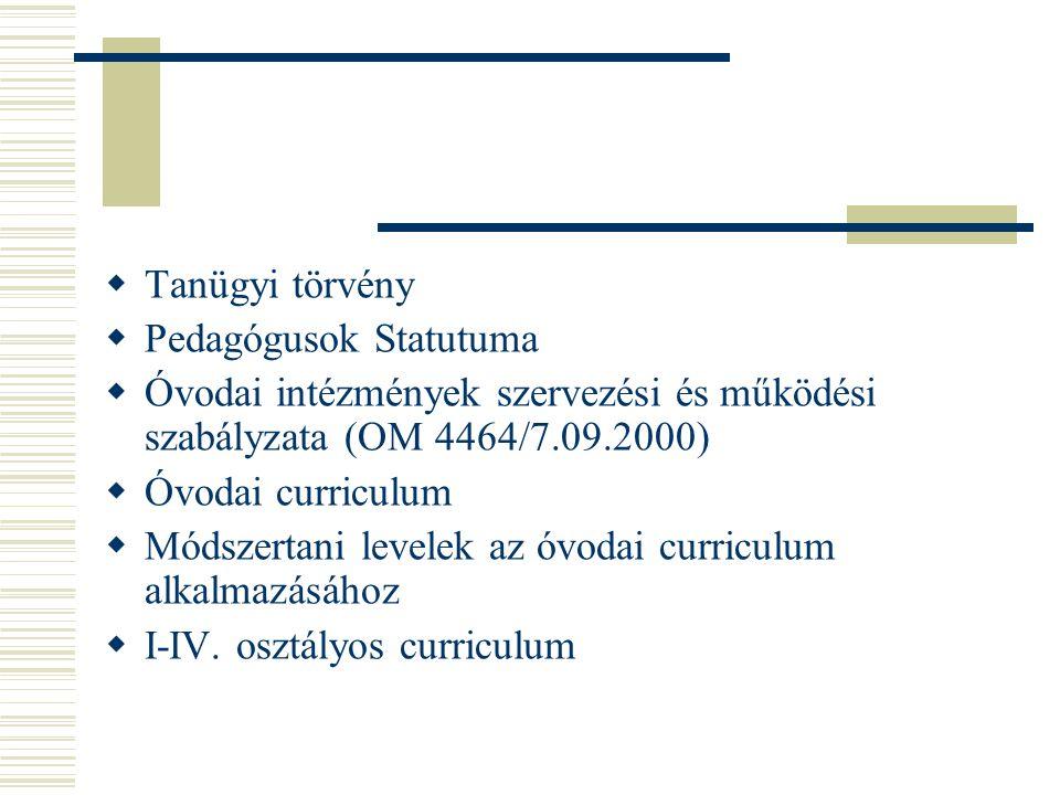  Tanügyi törvény  Pedagógusok Statutuma  Óvodai intézmények szervezési és működési szabályzata (OM 4464/7.09.2000)  Óvodai curriculum  Módszertan