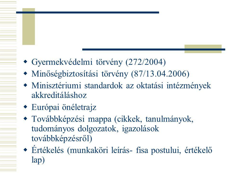  Gyermekvédelmi törvény (272/2004)  Minőségbiztosítási törvény (87/13.04.2006)  Minisztériumi standardok az oktatási intézmények akkreditáláshoz 