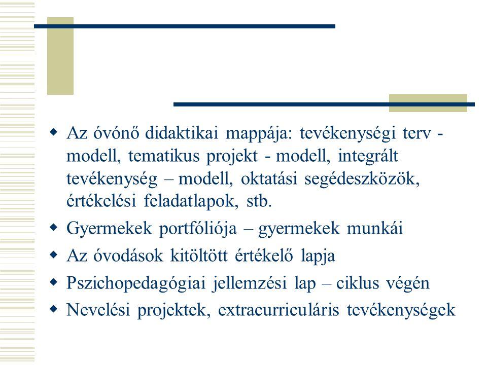  Az óvónő didaktikai mappája: tevékenységi terv - modell, tematikus projekt - modell, integrált tevékenység – modell, oktatási segédeszközök, értékel