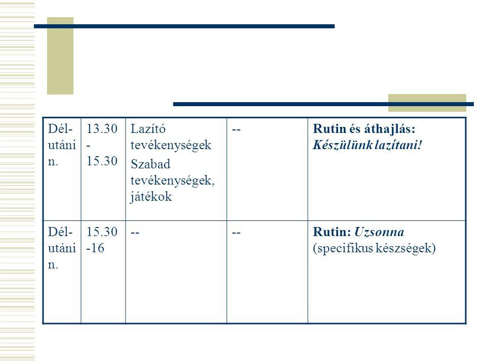 Dél- utáni n. 13.30 - 15.30 Lazító tevékenységek Szabad tevékenységek, játékok --Rutin és áthajlás: Készülünk lazítani! Dél- utáni n. 15.30 -16 -- Rut