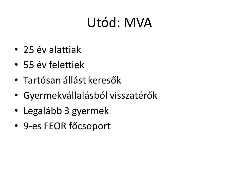 Utód: MVA 25 év alattiak 55 év felettiek Tartósan állást keresők Gyermekvállalásból visszatérők Legalább 3 gyermek 9-es FEOR főcsoport