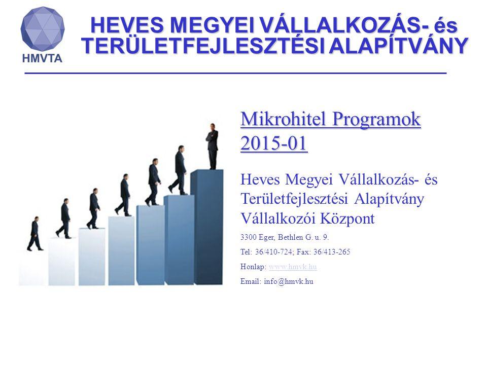 HEVES MEGYEI VÁLLALKOZÁS- és TERÜLETFEJLESZTÉSI ALAPÍTVÁNY Mikrohitel Programok 2015-01 Heves Megyei Vállalkozás- és Területfejlesztési Alapítvány Vál