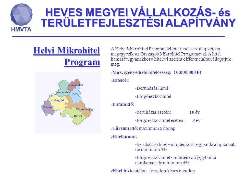 HEVES MEGYEI VÁLLALKOZÁS- és TERÜLETFEJLESZTÉSI ALAPÍTVÁNY Új Széchenyi Hitel Program mikro-, kis- és középvállalkozásoknak regionális szinten Max.