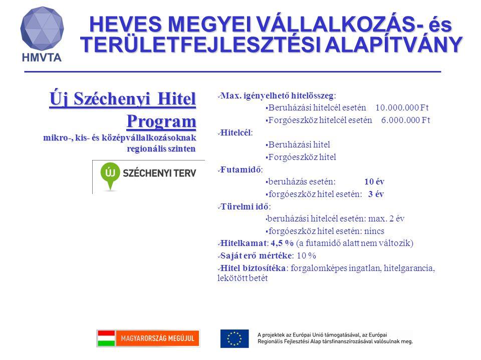HEVES MEGYEI VÁLLALKOZÁS- és TERÜLETFEJLESZTÉSI ALAPÍTVÁNY Új Széchenyi Hitel Program mikro-, kis- és középvállalkozásoknak regionális szinten Max. ig