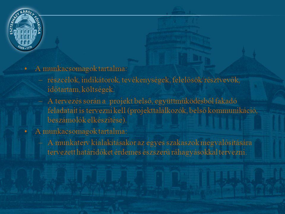 A munkacsomagok tartalma: –részcélok, indikátorok, tevékenységek, felelősök/résztvevők, időtartam, költségek. –A tervezés során a projekt belső, együt