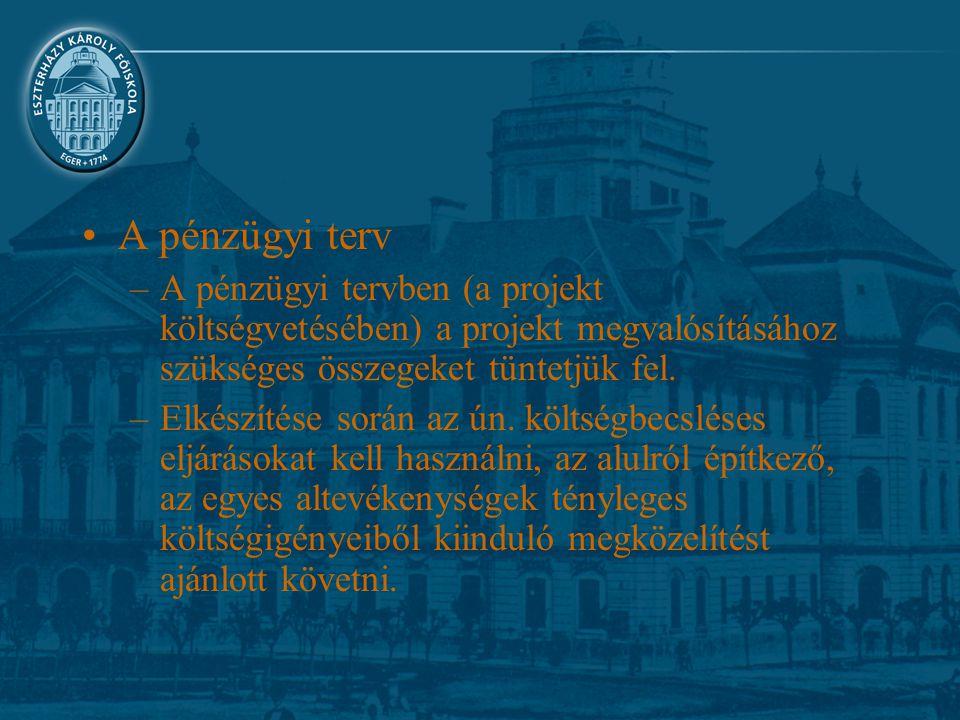A pénzügyi terv –A pénzügyi tervben (a projekt költségvetésében) a projekt megvalósításához szükséges összegeket tüntetjük fel. –Elkészítése során az