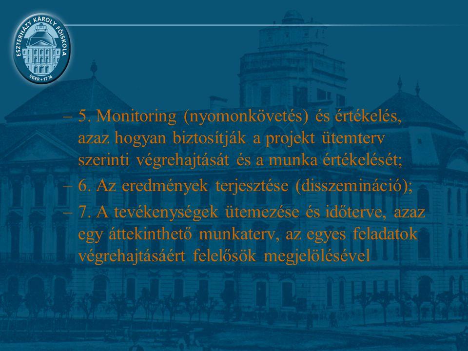 –5. Monitoring (nyomonkövetés) és értékelés, azaz hogyan biztosítják a projekt ütemterv szerinti végrehajtását és a munka értékelését; –6. Az eredmény