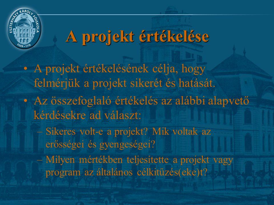 A projekt értékelése A projekt értékelésének célja, hogy felmérjük a projekt sikerét és hatását. Az összefoglaló értékelés az alábbi alapvető kérdések