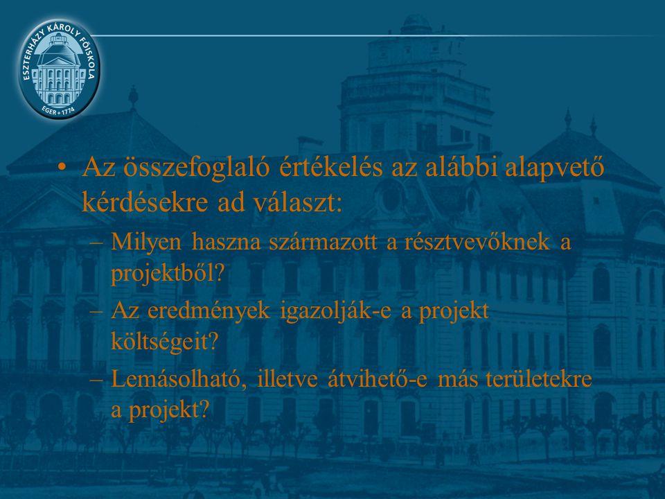 Az összefoglaló értékelés az alábbi alapvető kérdésekre ad választ: –Milyen haszna származott a résztvevőknek a projektből? –Az eredmények igazolják-e