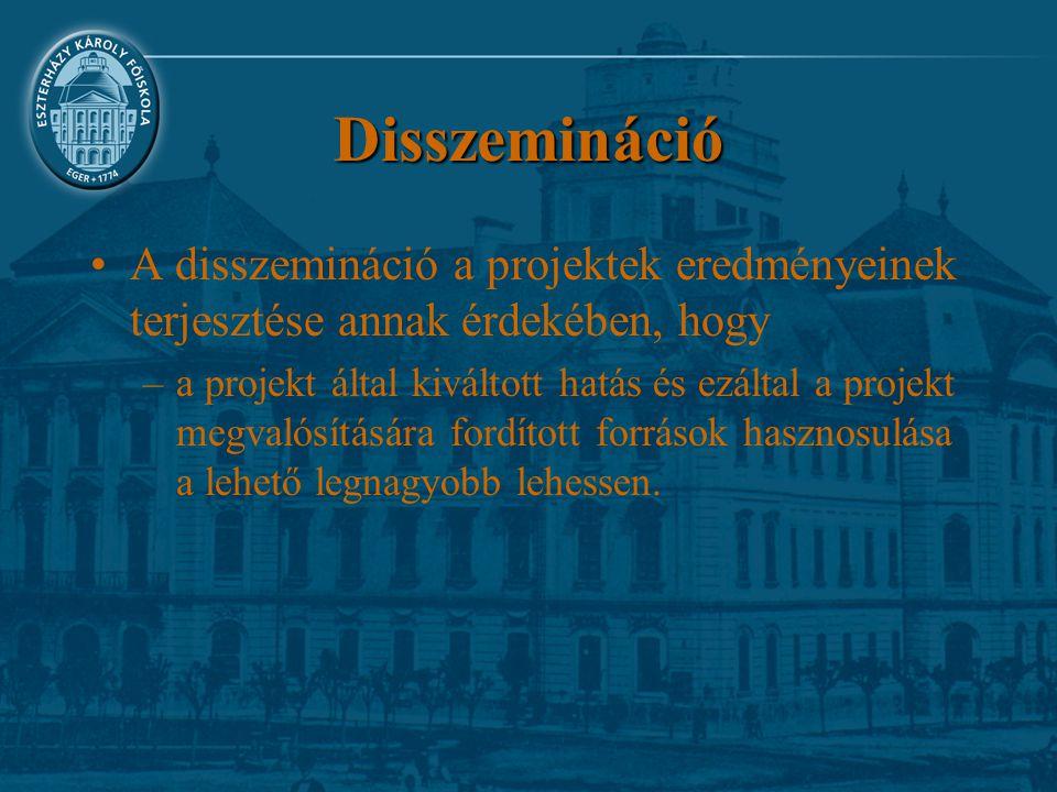 Disszemináció A disszemináció a projektek eredményeinek terjesztése annak érdekében, hogy –a projekt által kiváltott hatás és ezáltal a projekt megval