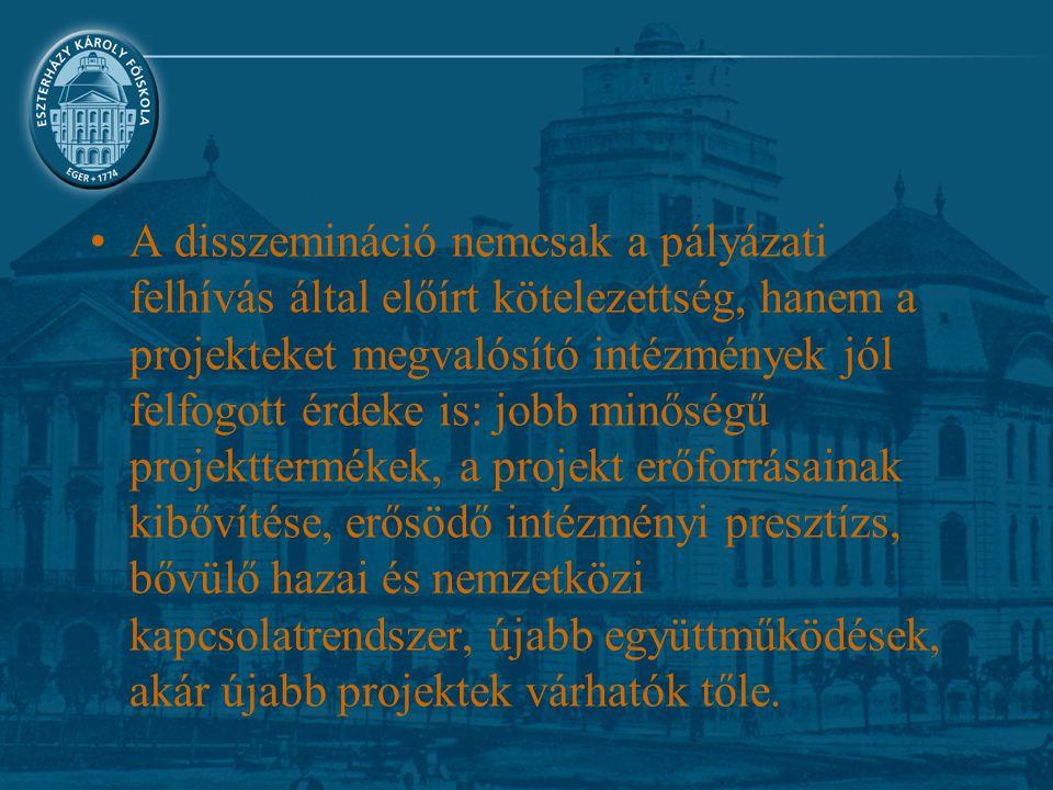 A disszemináció nemcsak a pályázati felhívás által előírt kötelezettség, hanem a projekteket megvalósító intézmények jól felfogott érdeke is: jobb min