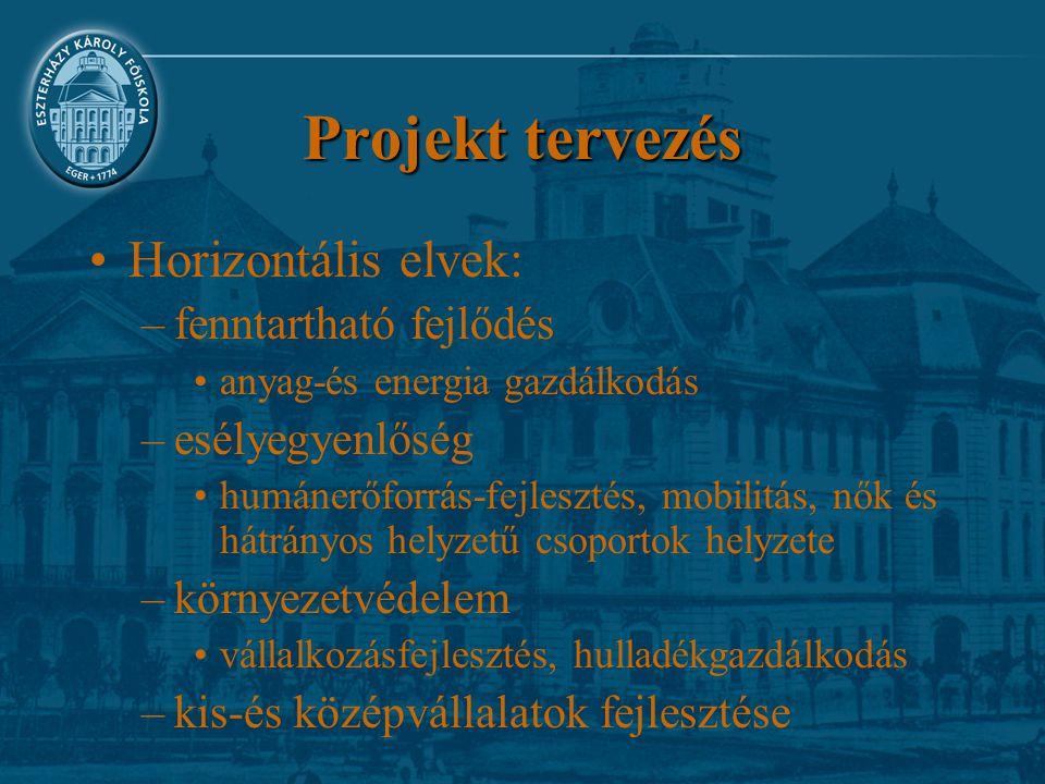 Projekt tervezés Horizontális elvek: –fenntartható fejlődés anyag-és energia gazdálkodás –esélyegyenlőség humánerőforrás-fejlesztés, mobilitás, nők és