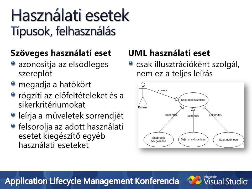 Szöveges használati eset azonosítja az elsődleges szereplőt megadja a hatókört rögzíti az előfeltételeket és a sikerkritériumokat leírja a műveletek sorrendjét felsorolja az adott használati esetet kiegészítő egyéb használati eseteket UML használati eset csak illusztrációként szolgál, nem ez a teljes leírás