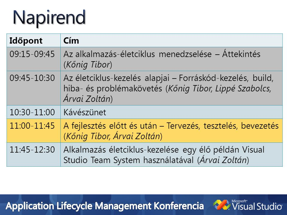 IdőpontCím 09:15-09:45Az alkalmazás-életciklus menedzselése – Áttekintés (Kőnig Tibor) 09:45-10:30Az életciklus-kezelés alapjai – Forráskód-kezelés, build, hiba- és problémakövetés (Kőnig Tibor, Lippé Szabolcs, Árvai Zoltán) 10:30-11:00Kávészünet 11:00-11:45A fejlesztés előtt és után – Tervezés, tesztelés, bevezetés (Kőnig Tibor, Árvai Zoltán) 11:45-12:30Alkalmazás életciklus-kezelése egy élő példán Visual Studio Team System használatával (Árvai Zoltán)