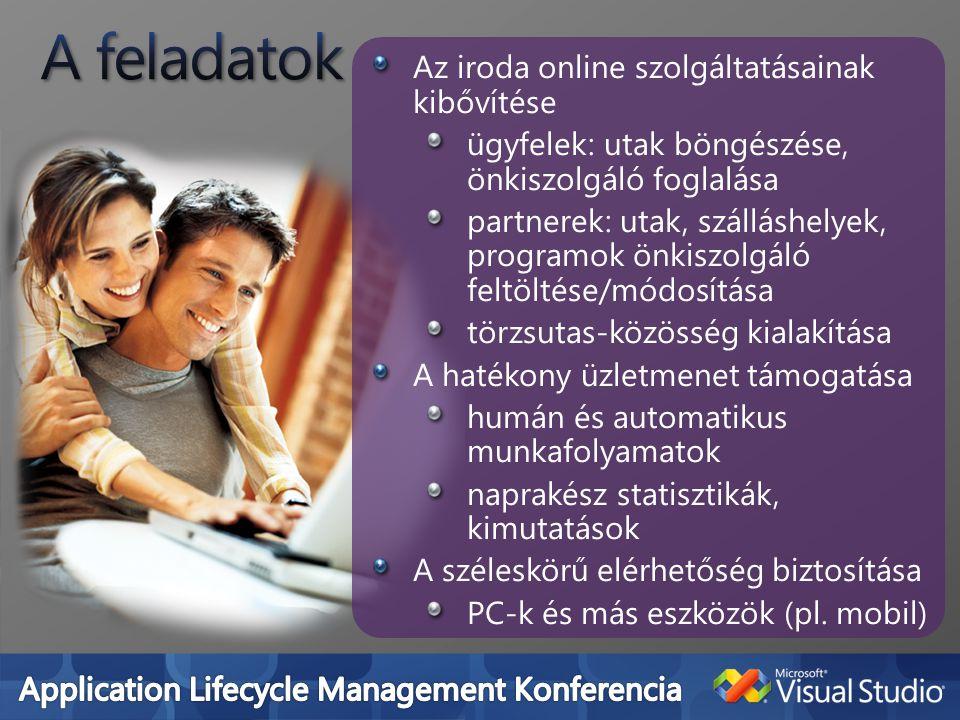 Az iroda online szolgáltatásainak kibővítése ügyfelek: utak böngészése, önkiszolgáló foglalása partnerek: utak, szálláshelyek, programok önkiszolgáló feltöltése/módosítása törzsutas-közösség kialakítása A hatékony üzletmenet támogatása humán és automatikus munkafolyamatok naprakész statisztikák, kimutatások A széleskörű elérhetőség biztosítása PC-k és más eszközök (pl.