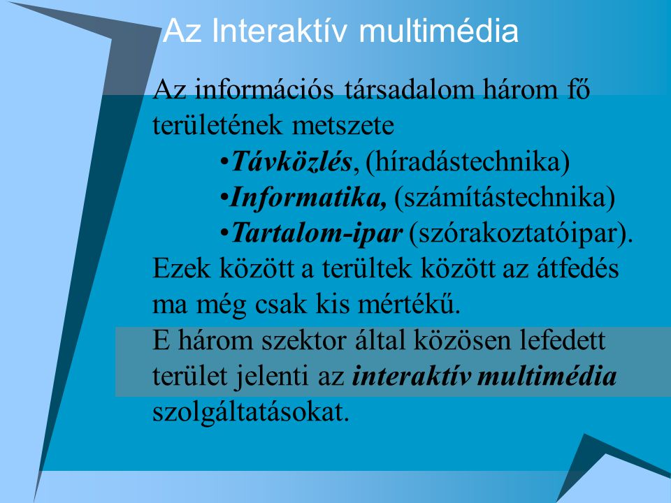 Az Interaktív multimédia Az információs társadalom három fő területének metszete Távközlés, (híradástechnika) Informatika, (számítástechnika) Tartalom-ipar (szórakoztatóipar).