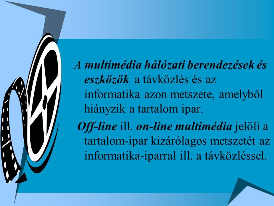 A multimédia hálózati berendezések és eszközök a távközlés és az informatika azon metszete, amelyből hiányzik a tartalom ipar. Off-line ill. on-line m