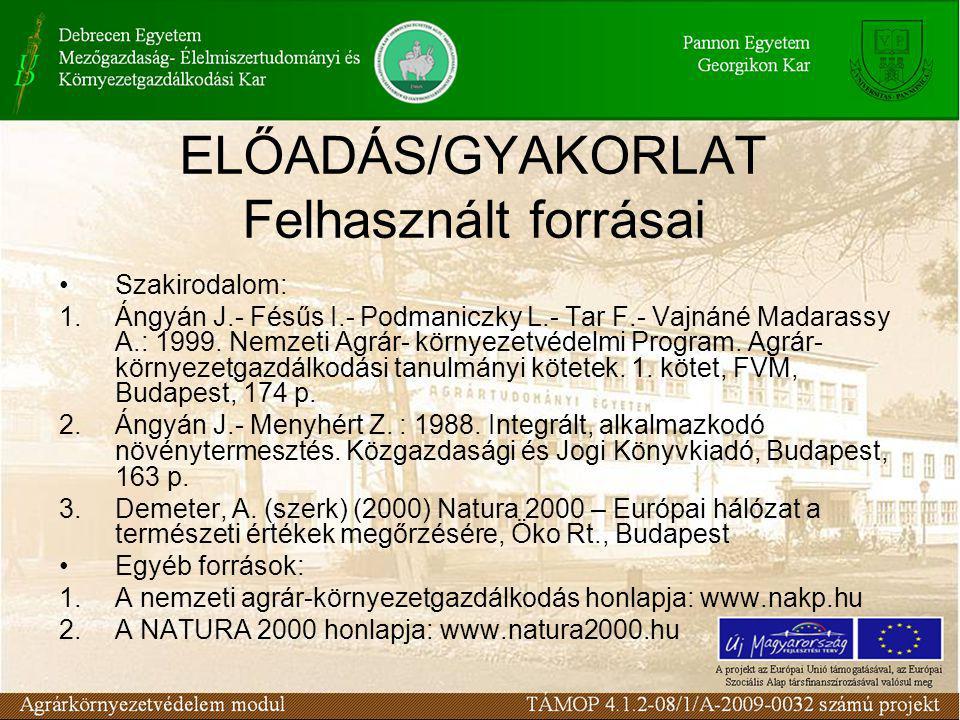 ELŐADÁS/GYAKORLAT Felhasznált forrásai Szakirodalom: 1.Ángyán J.- Fésűs I.- Podmaniczky L.- Tar F.- Vajnáné Madarassy A.: 1999.