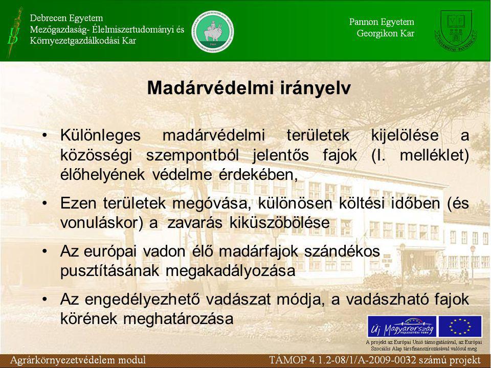 Madárvédelmi irányelv Különleges madárvédelmi területek kijelölése a közösségi szempontból jelentős fajok (I.
