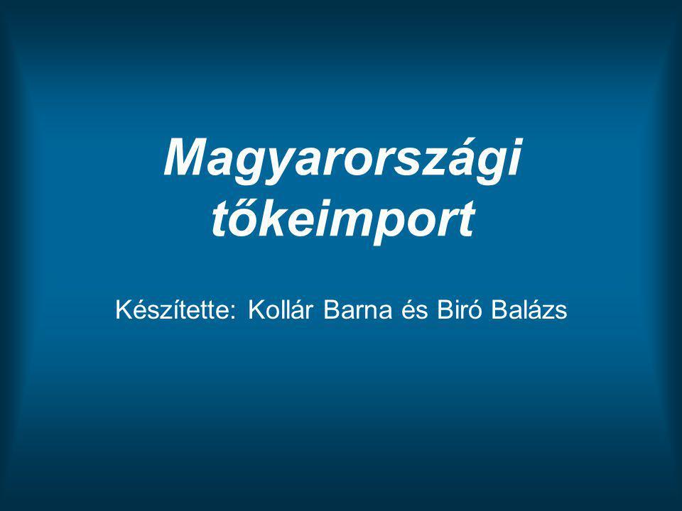 Magyarországi tőkeimport Készítette: Kollár Barna és Biró Balázs