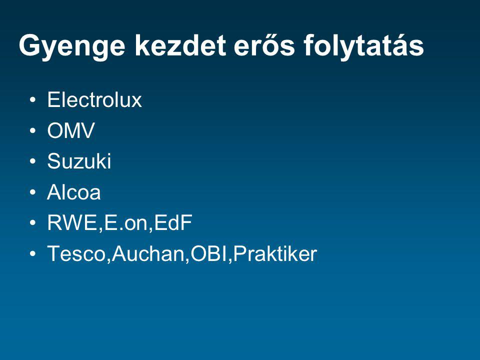 Gyenge kezdet erős folytatás Electrolux OMV Suzuki Alcoa RWE,E.on,EdF Tesco,Auchan,OBI,Praktiker