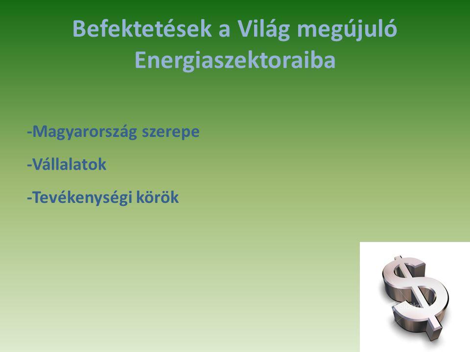 Befektetések a Világ megújuló Energiaszektoraiba -Magyarország szerepe -Vállalatok -Tevékenységi körök