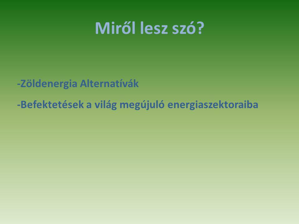 Miről lesz szó -Zöldenergia Alternatívák -Befektetések a világ megújuló energiaszektoraiba