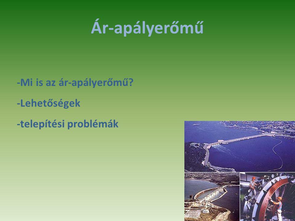 Ár-apályerőmű -Mi is az ár-apályerőmű -Lehetőségek -telepítési problémák