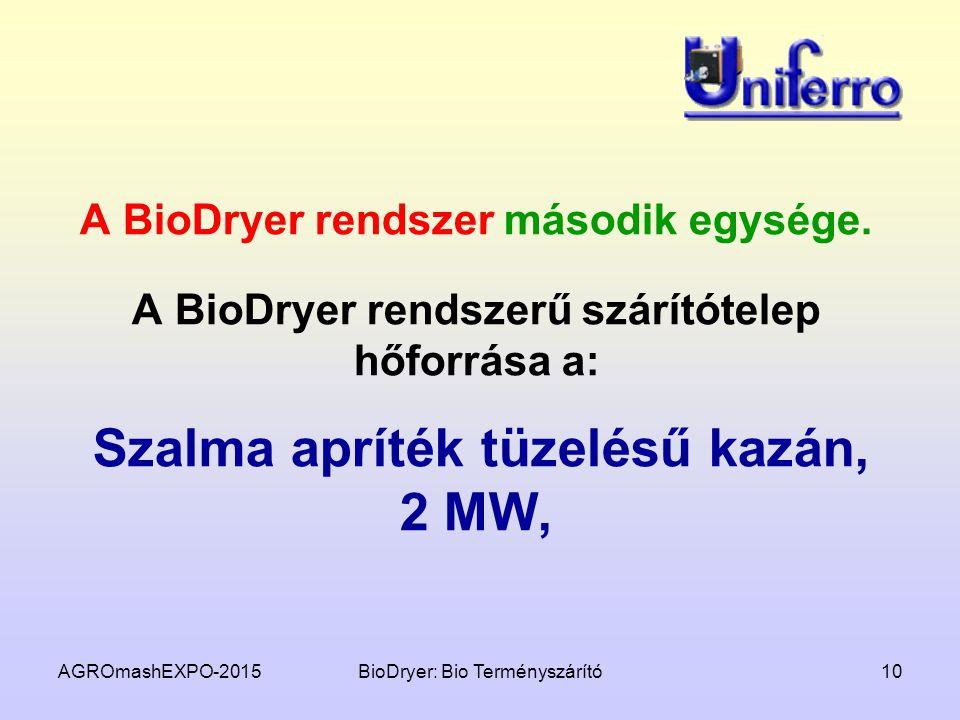 AGROmashEXPO-2015BioDryer: Bio Terményszárító10 A BioDryer rendszer második egysége. A BioDryer rendszerű szárítótelep hőforrása a: Szalma apríték tüz