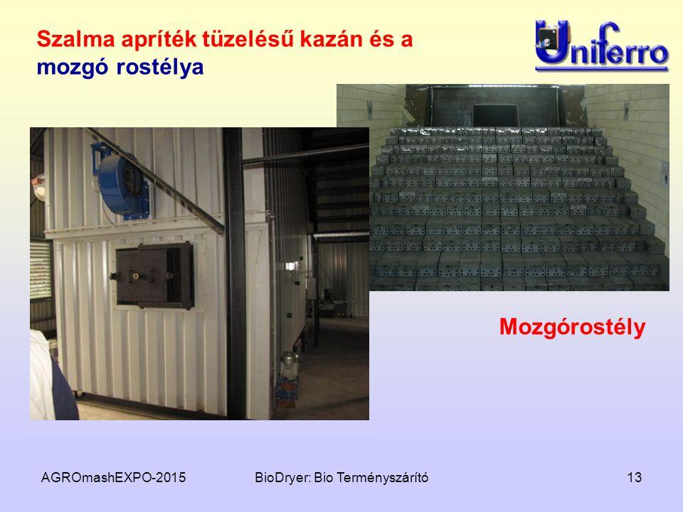 AGROmashEXPO-2015BioDryer: Bio Terményszárító13 Szalma apríték tüzelésű kazán és a mozgó rostélya Mozgórostély