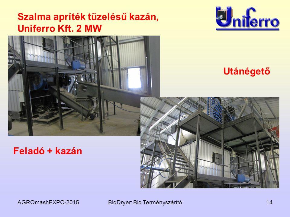 AGROmashEXPO-2015BioDryer: Bio Terményszárító14 Szalma apríték tüzelésű kazán, Uniferro Kft. 2 MW Feladó + kazán Utánégető