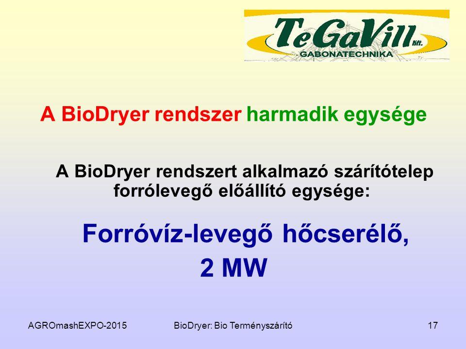 AGROmashEXPO-2015BioDryer: Bio Terményszárító17 A BioDryer rendszer harmadik egysége A BioDryer rendszert alkalmazó szárítótelep forrólevegő előállító