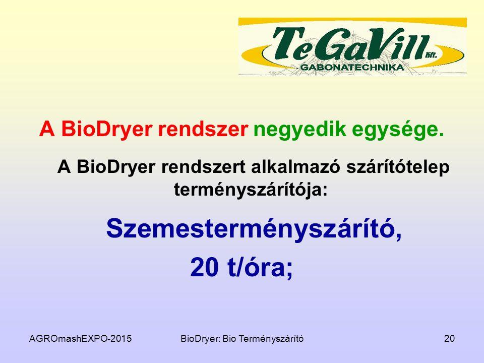 AGROmashEXPO-2015BioDryer: Bio Terményszárító20 A BioDryer rendszer negyedik egysége. A BioDryer rendszert alkalmazó szárítótelep terményszárítója: Sz