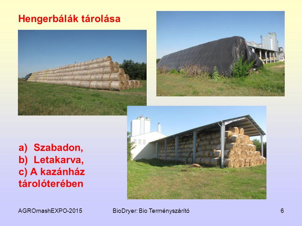 AGROmashEXPO-2015BioDryer: Bio Terményszárító6 Hengerbálák tárolása a)Szabadon, b)Letakarva, c) A kazánház tárolóterében