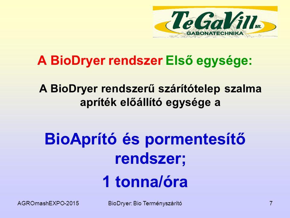 A BioDryer rendszer Első egysége: A BioDryer rendszerű szárítótelep szalma apríték előállító egysége a BioAprító és pormentesítő rendszer; 1 tonna/óra