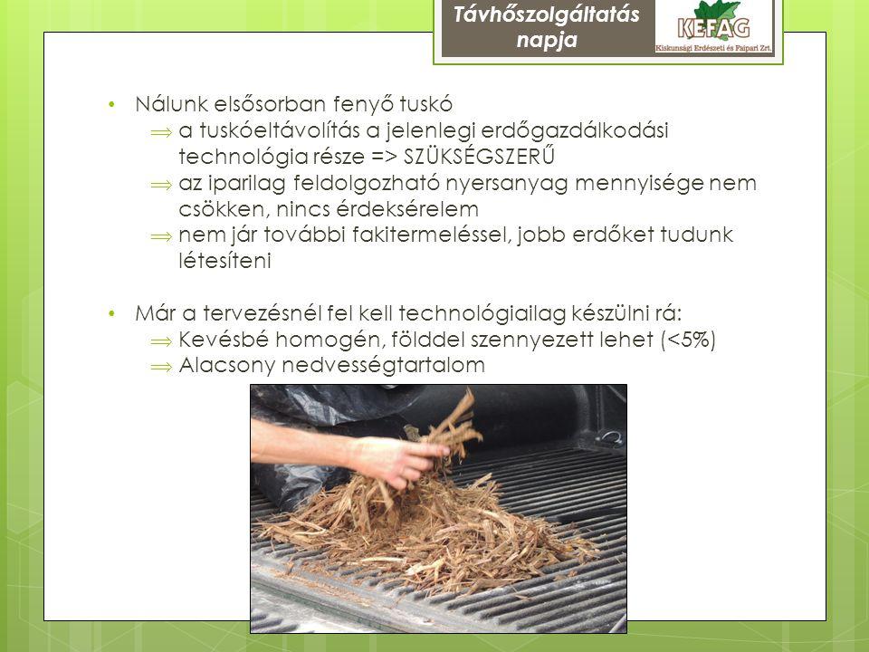 Nálunk elsősorban fenyő tuskó  a tuskóeltávolítás a jelenlegi erdőgazdálkodási technológia része => SZÜKSÉGSZERŰ  az iparilag feldolgozható nyersany