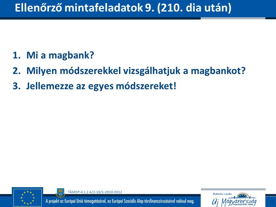TÁMOP-4.1.2.A/2-10/1-2010-0012 1.Mi a magbank. 2.Milyen módszerekkel vizsgálhatjuk a magbankot.