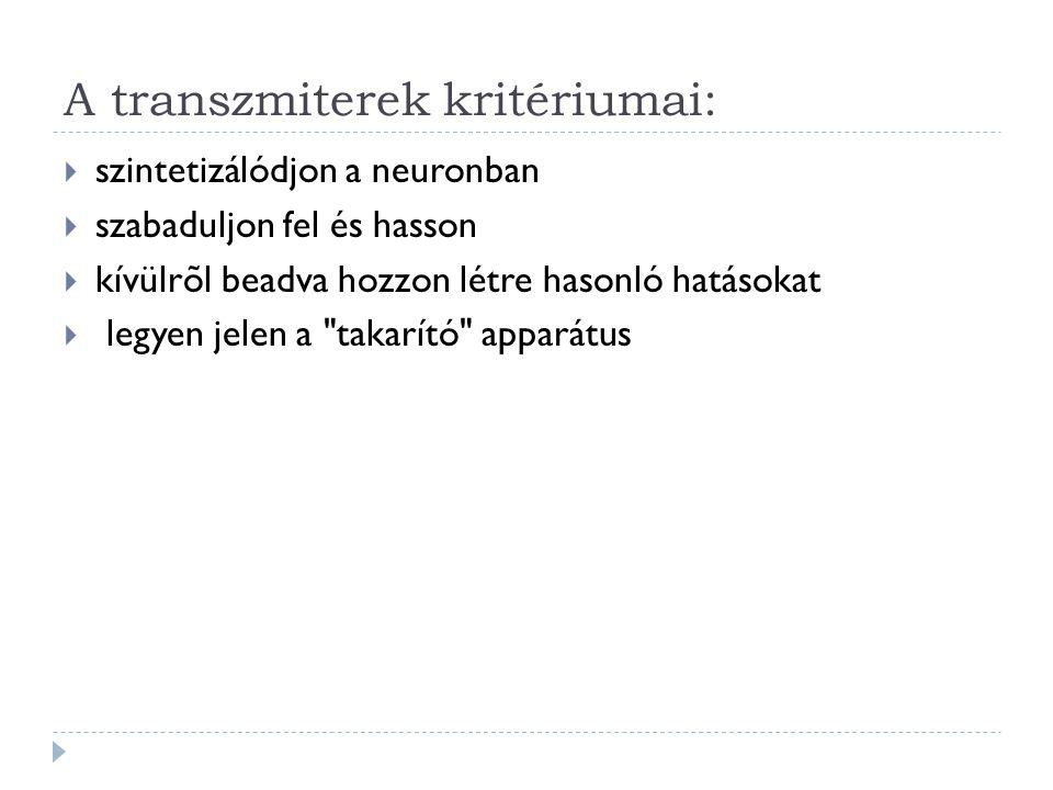 A transzmiterek kritériumai:  szintetizálódjon a neuronban  szabaduljon fel és hasson  kívülrõl beadva hozzon létre hasonló hatásokat  legyen jele