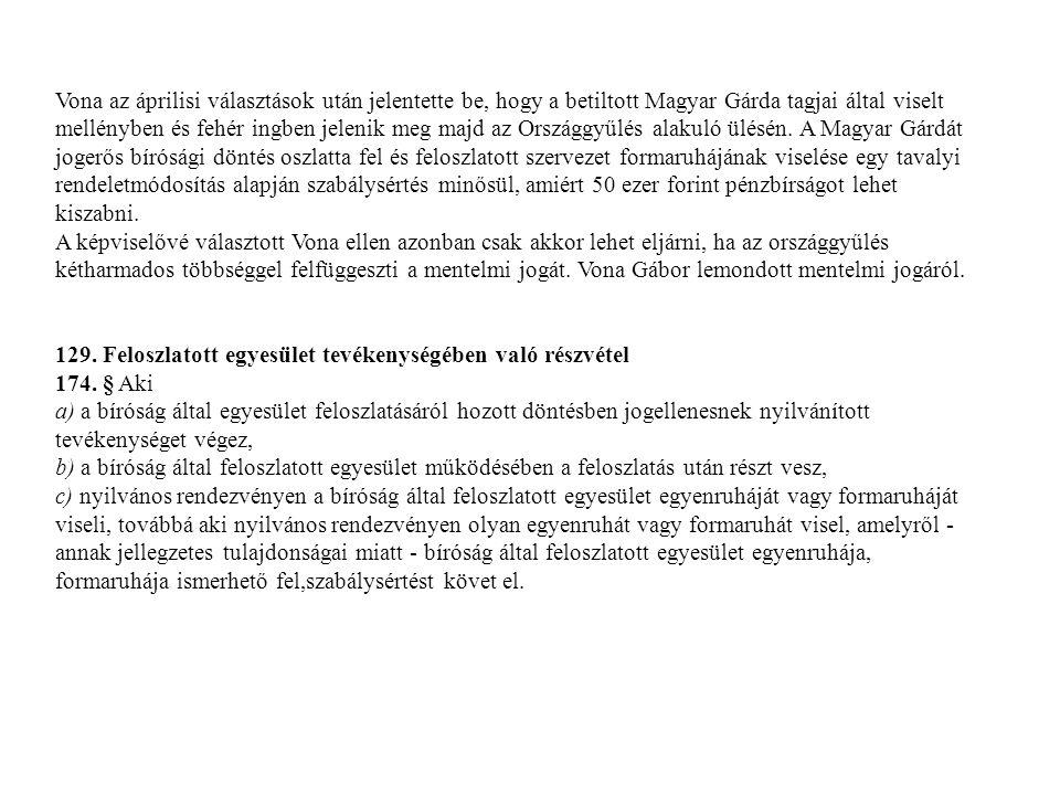 Vona az áprilisi választások után jelentette be, hogy a betiltott Magyar Gárda tagjai által viselt mellényben és fehér ingben jelenik meg majd az Orsz
