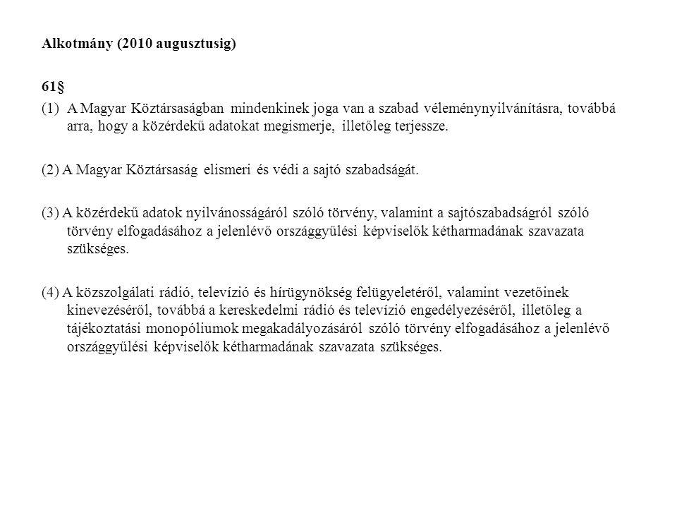 Alkotmány (2010 augusztusig) 61§ (1)A Magyar Köztársaságban mindenkinek joga van a szabad véleménynyilvánításra, továbbá arra, hogy a közérdekű adatok