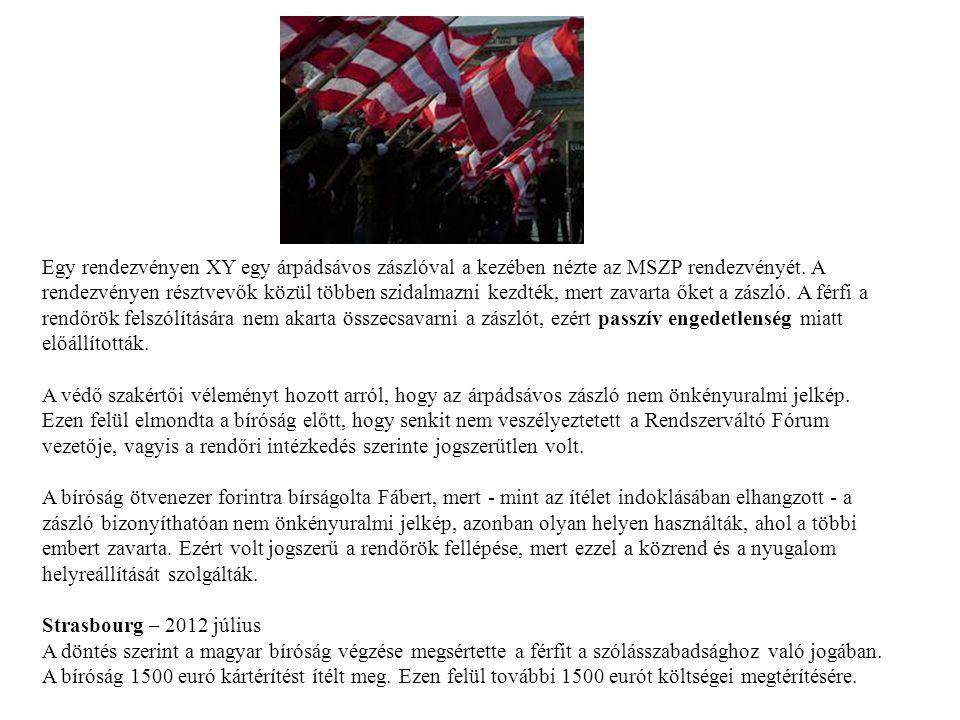 Egy rendezvényen XY egy árpádsávos zászlóval a kezében nézte az MSZP rendezvényét. A rendezvényen résztvevők közül többen szidalmazni kezdték, mert za