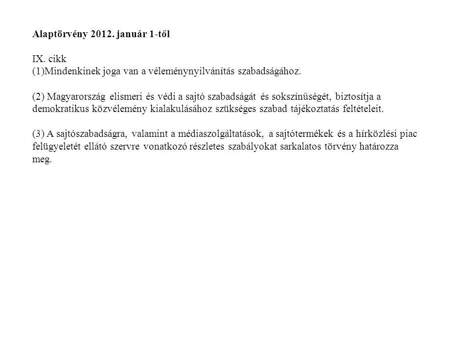 Alaptörvény 2012. január 1-től IX. cikk (1)Mindenkinek joga van a véleménynyilvánítás szabadságához. (2) Magyarország elismeri és védi a sajtó szabads