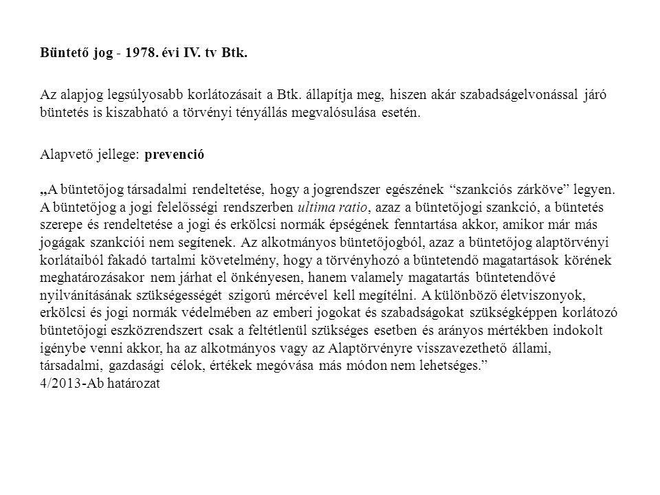 Büntető jog - 1978. évi IV. tv Btk. Az alapjog legsúlyosabb korlátozásait a Btk. állapítja meg, hiszen akár szabadságelvonással járó büntetés is kisza