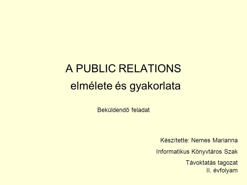 A PUBLIC RELATIONS elmélete és gyakorlata Beküldendő feladat Készítette: Nemes Marianna Informatikus Könyvtáros Szak Távoktatás tagozat II. évfolyam